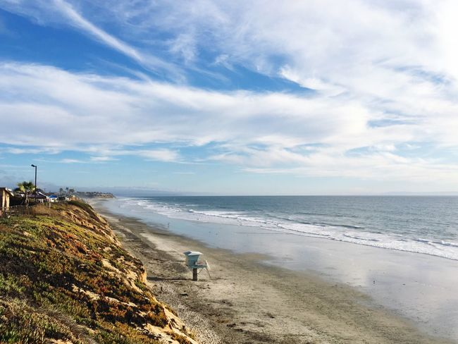 Sea Sky Horizon Over Water Beach Water Cloud - Sky Beauty In Nature Scenics Outdoors Nature California Coast California Tranquil Scene California Dreaming Tranquility Real People Day Carlsbad Beach