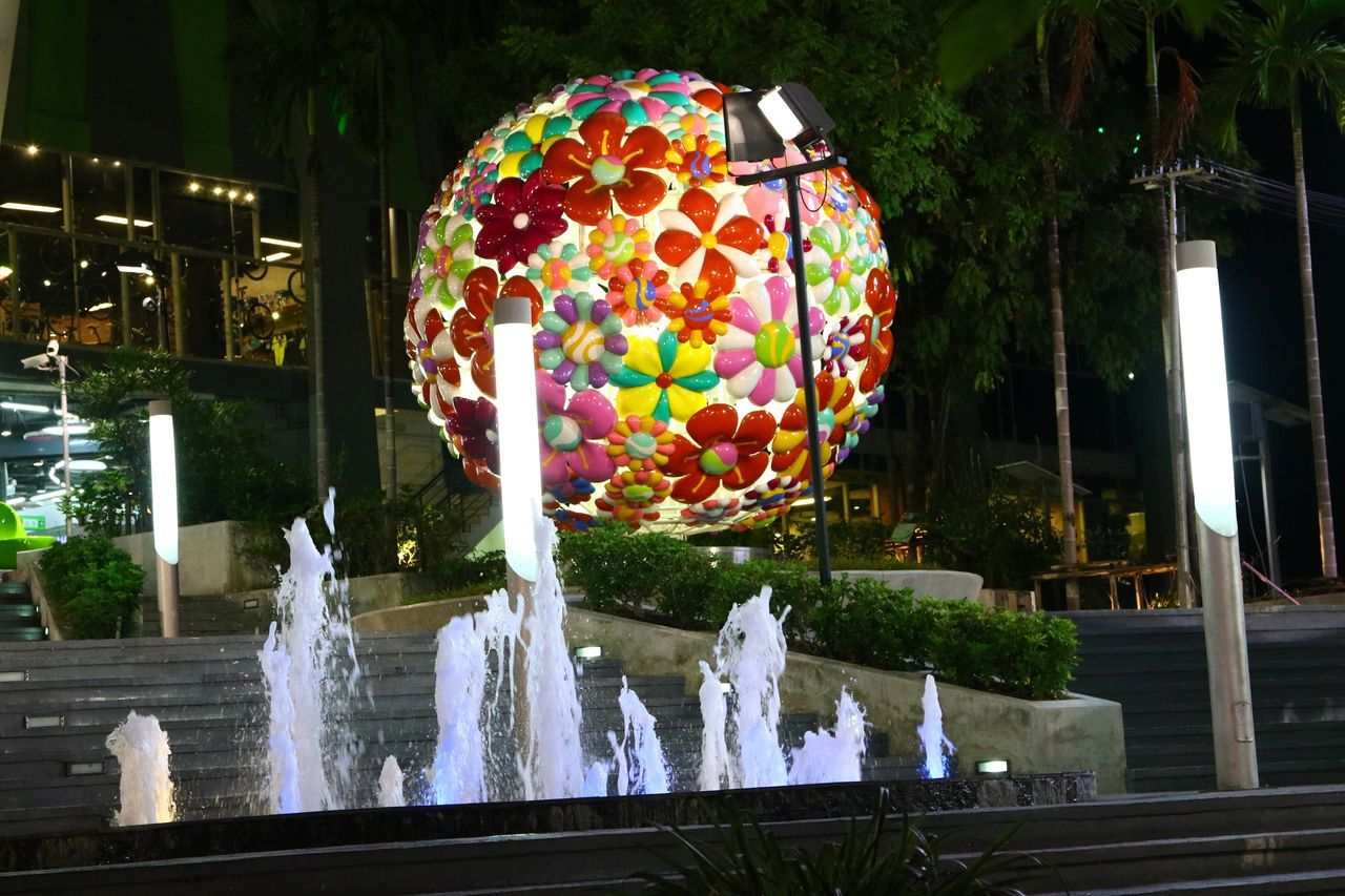 Flower Ball Flower Balloon Ball Balloons Celebration Night Multi Colored Outdoors