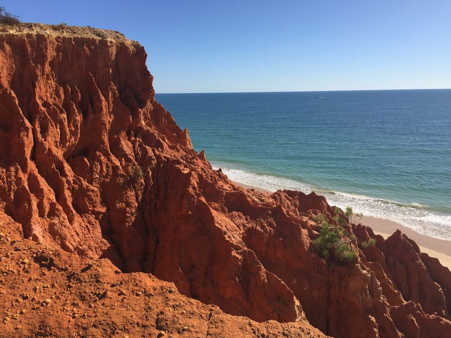 Sea Nature Rock Formation Beauty In Nature Tranquil Scene Scenics Rock - Object Clear Sky Tranquility Horizon Over Water Water Outdoors Beach Sunlight Day No People Sand Cliff Blue Sky No Edit/no Filter No Filter Algarve Nature Blue Sky