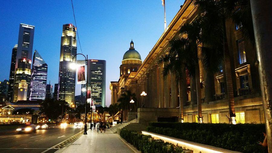 Architecture Building Exterior City Travel Destinations Illuminated Night Outdoors Urban Skyline Singapore Old Court House