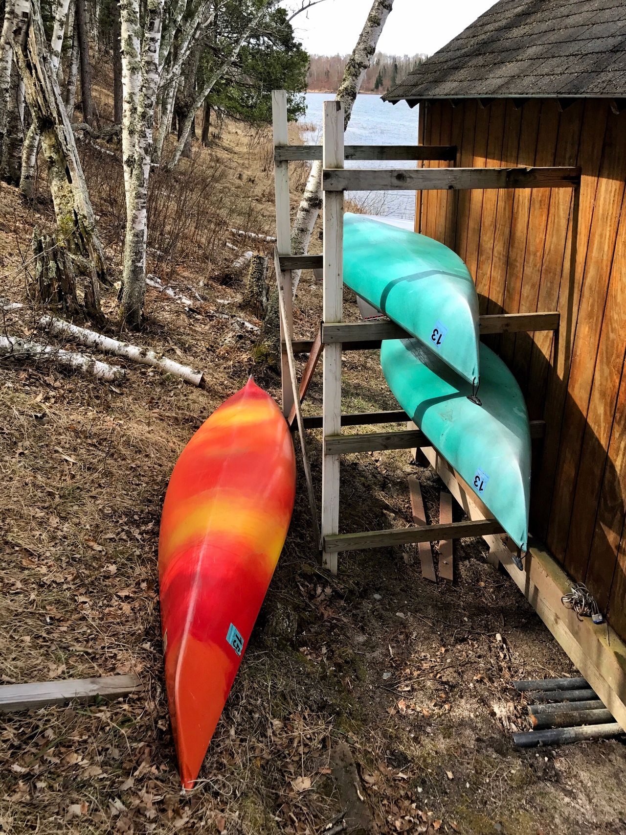 Outdoors Built Structure Leisure Activity Canoes Birch Tree Lake Colors Relaxation Turquoise Orange