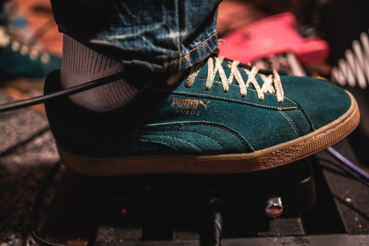 My Favorite Kicks Close-up Footwear Green Color Guitar Pedals Guitarist Human Body Part Indoors  Lifestyles Low Section Musician One Person Pattern People Photographyisthemuse Pumas  Real People Sneakers Style Suède