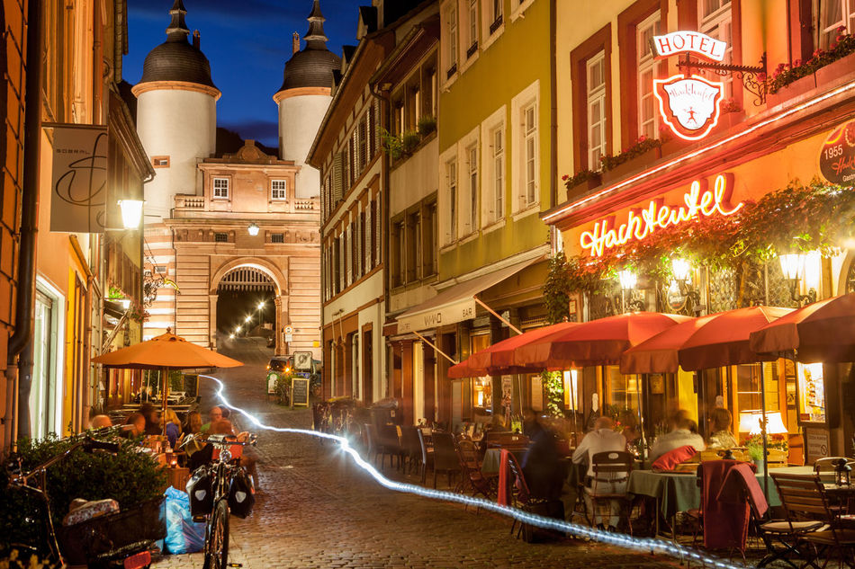 Alte Aula Alte Brücke Castle City Elevated View Exterior View Germany Heidelberg Hills Historical Building Historical Sights Nightphotography Old Bridge Schloss Travel Destinations Travel Photography University University Campus Vinery Cities At Night