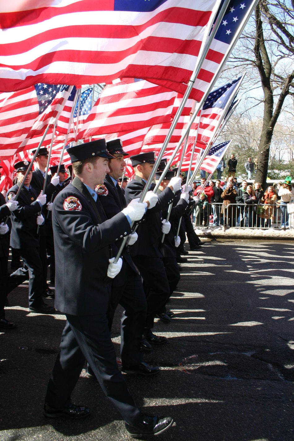 American Flag Fifth Avenue NYC Firemen Marching Flags Full Length Marching Band Outdoors Parade Real People