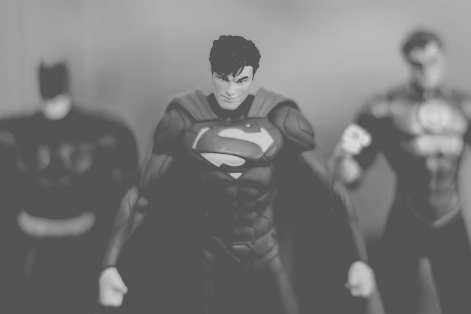 Dont mess with the justice league Action Figures Batman Black And White Photography Bnw DC Dccomics Defiance Focus On Foreground Green Lantern  Justice League Leisure Activity Nerd Things Nerdy Play Time Powerful Selective Focus Still Life Superhero Superheroes Superman Toys