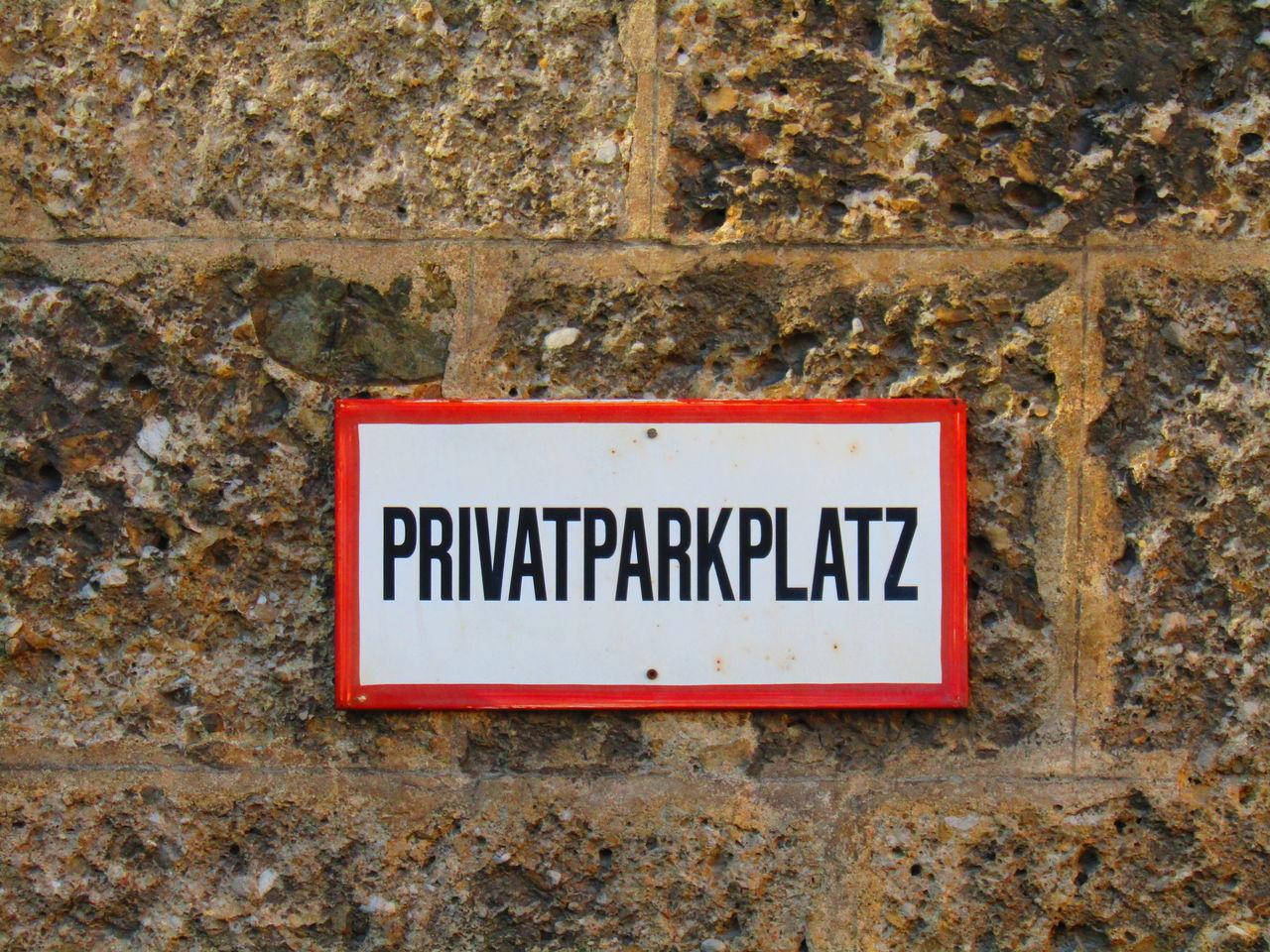 Parkplatz Parking Space Privat Wall Wand Sign Schild