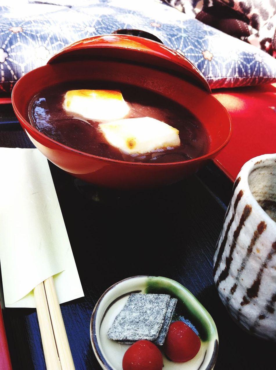 京都府 旅行 茶屋 Japan Kyouto Traveling Japanese Cafe Food Japanese Food Sweet Red-bean Soup With Mochi Oshiruko