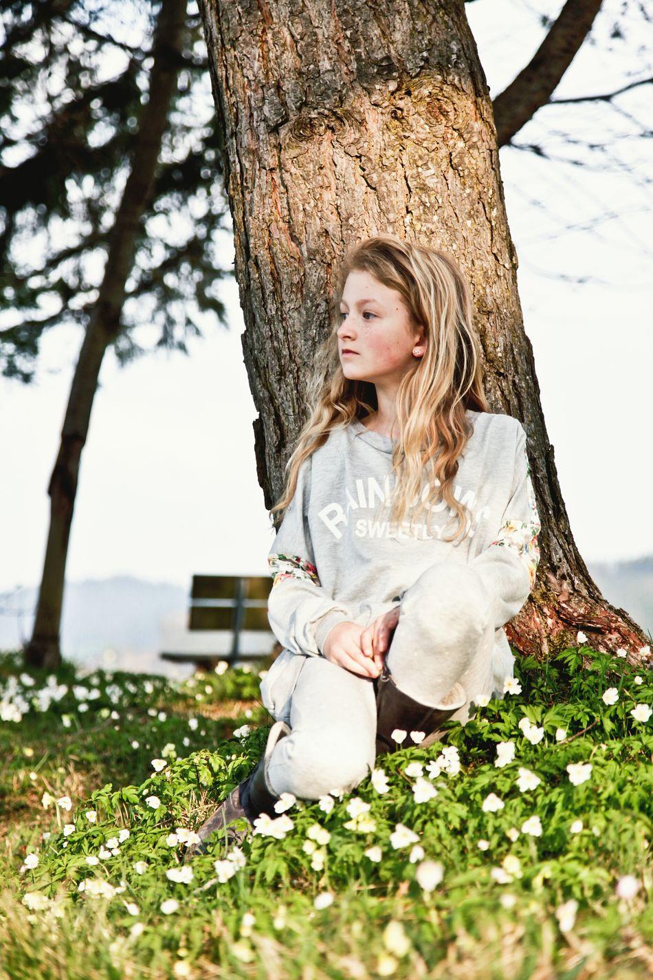 Girl Spring Springtime Flower Blond Hair One Girl Only People Beautiful People Teen Teenager Teenage Girls Lifestyle Lifestyles Long Hair Enjoying Life Real People Tree Sitting Sitting Outside Sitting In The Sun EyeEmNewHere Resist Art Is Everywhere Long Goodbye
