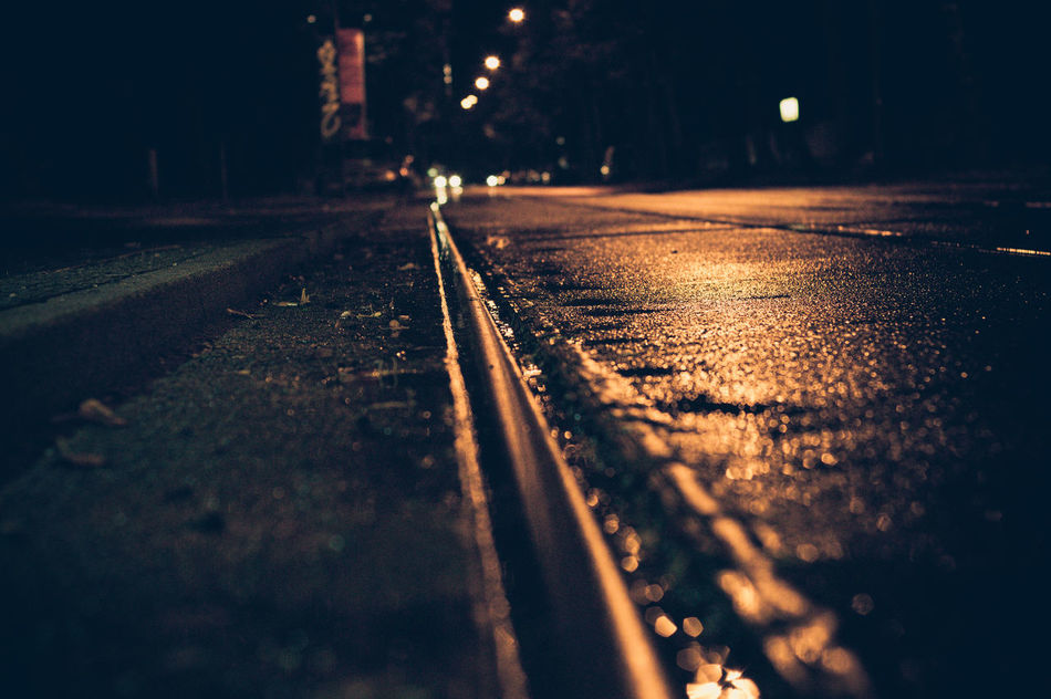 After Rain Berlin Photography Canonphotography Night And Light Outdoors Rails Reflections Street Street At Night Streetphotography Wet Street
