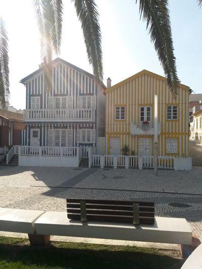Architecture Building Exterior Façade Aveiro, Portugal Costa Nova Houses Houses By The Sea Portugal Sunny Day