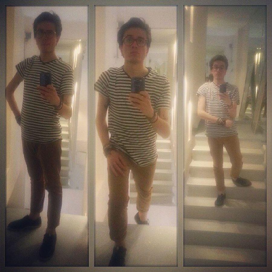 Bitch, I'm fabulous Selfie Mirror Sunday Boysfashion menswear stripes stairs instafashion fashion instagram igers photooftheday kdcollage collage