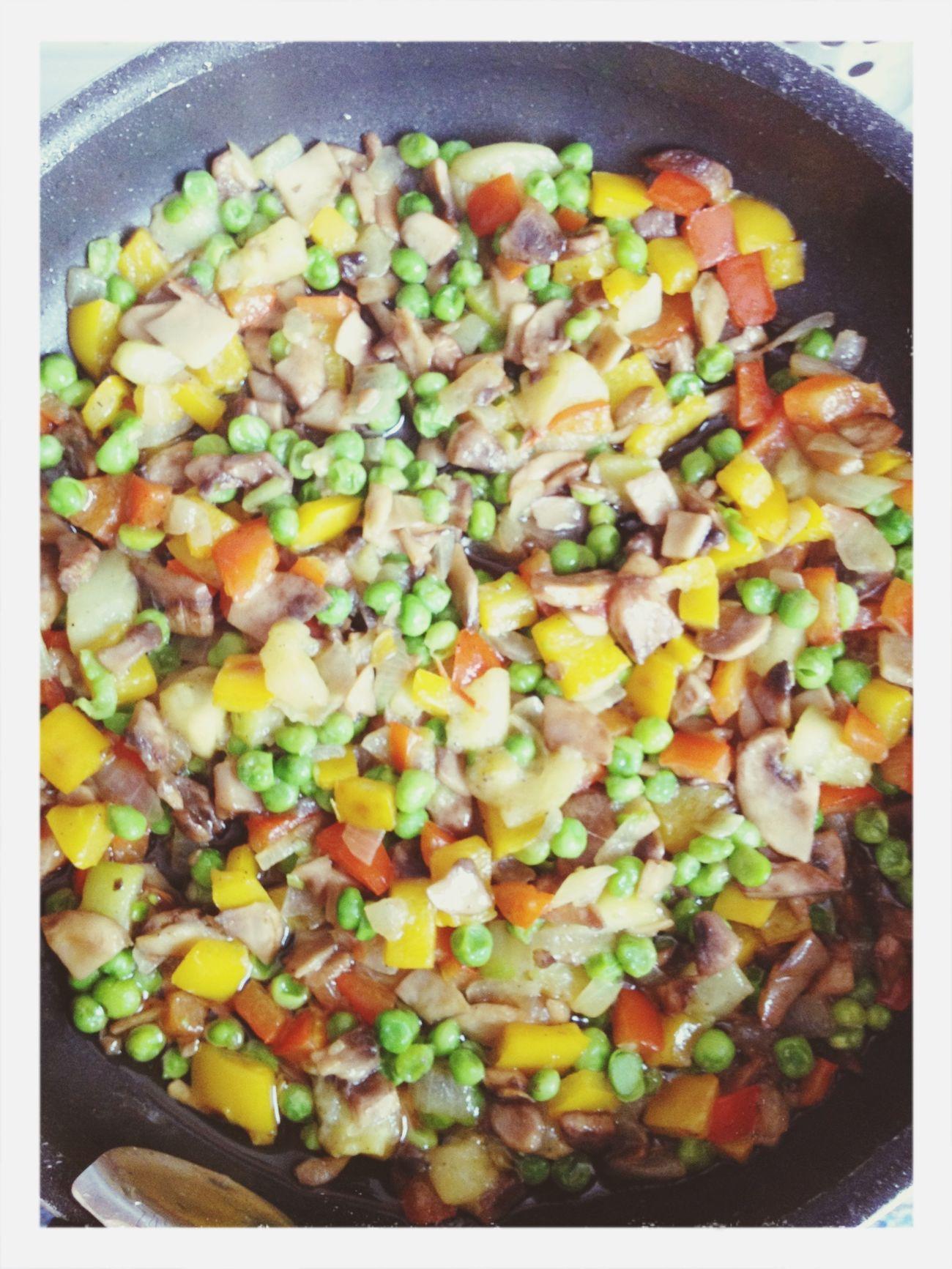 Sautéed vegetables (onion, zucchinni, red pepper, yellow pepper, mushrooms and peas). Food Vegetarian Food Vegan Sauteed Veggies