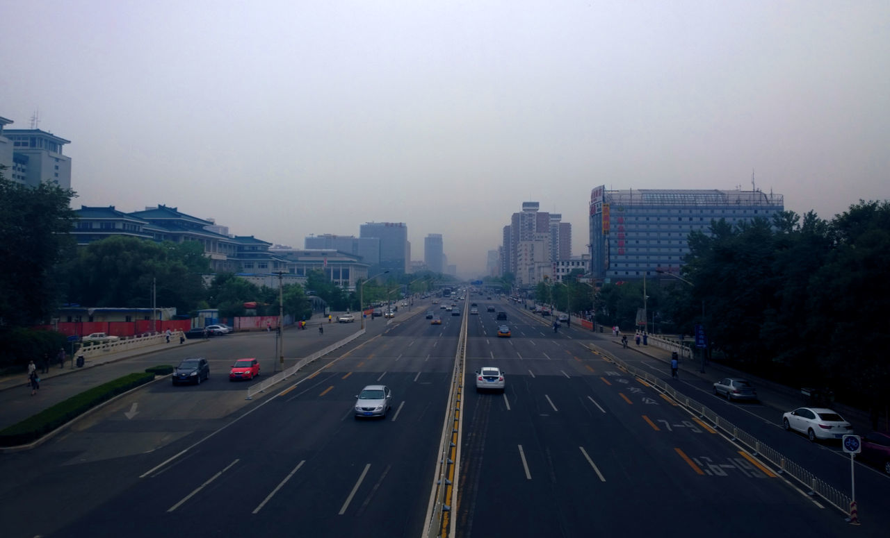 Beijing Beijing, China Buildings Cityscape Haze Pollution Sky Street Traffic Trees