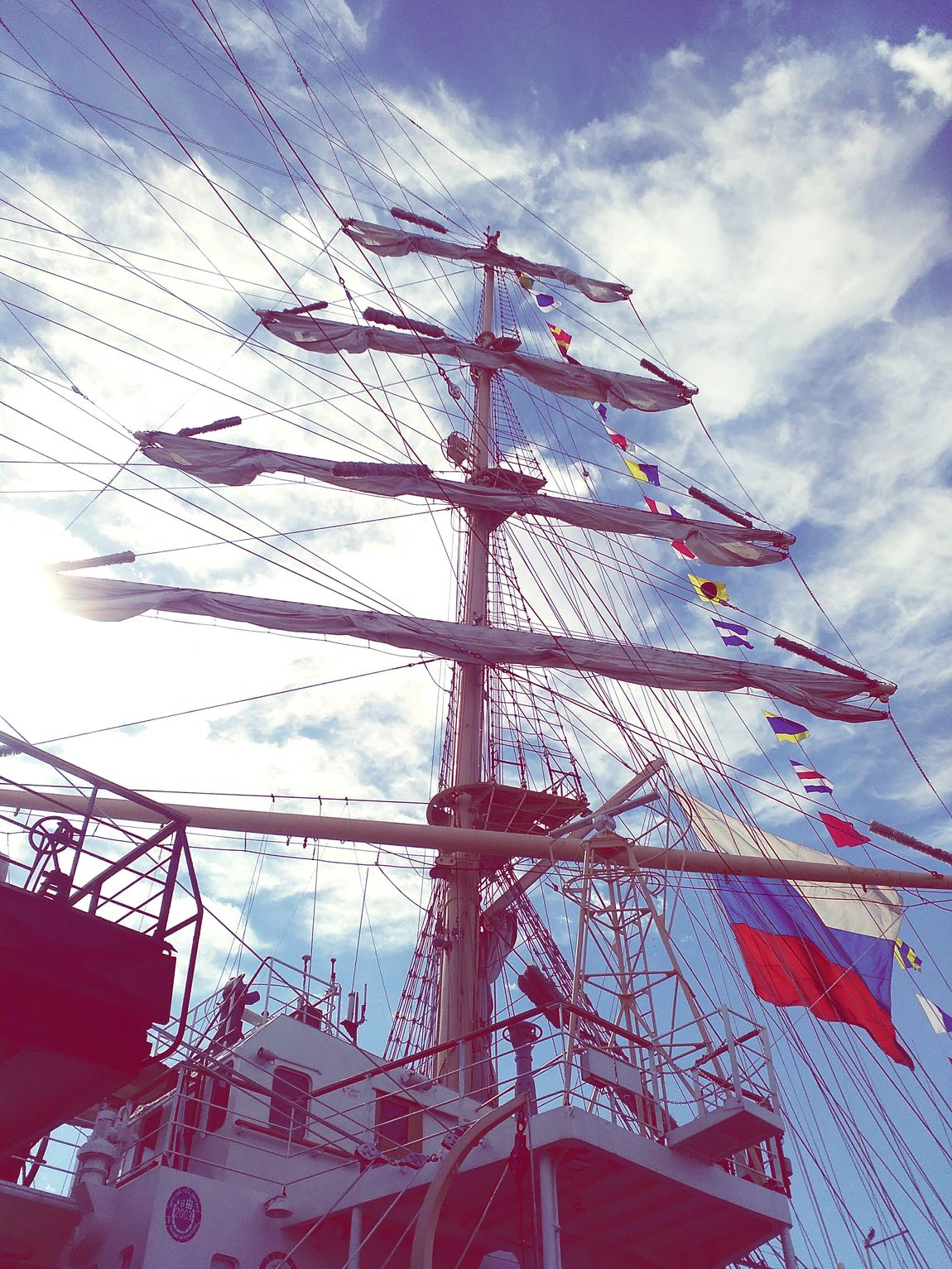 People And Places Tallship Tallships Tallshipsrace2016 TallShipsRegatta TallShips2016 Ship Ships Varna Varna,Bulgaria VarnaBulgaria Varna2017 First Eyeem Photo 2016 Low Angle View Sky Cloud - Sky Cloudy Day View Russia Russianship Russian Blue Russian Flag