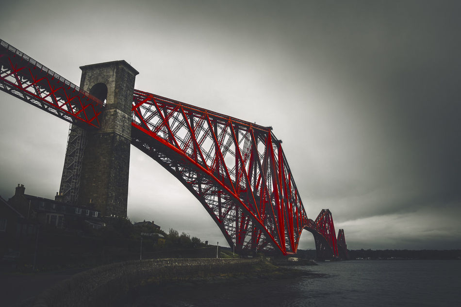 Architecture Bridge - Man Made Structure Built Structure Connection Engineering Forth Bridge Low Angle View Mode Of Transport Outdoors Railroad Bridge Red Sea Suspension Bridge Transportation Water Waterfront Weather