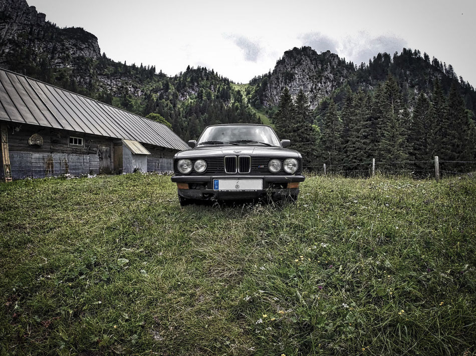 We found that BMW on our ascent to the Benediktenwand near by the Tutzinger Hütte on our hike from Munich to Venice. Alp Alpen Alps Bayern Benediktenwand Bmw Car München Oldtimer Traumpfad Tutzinger Hütte Venedig