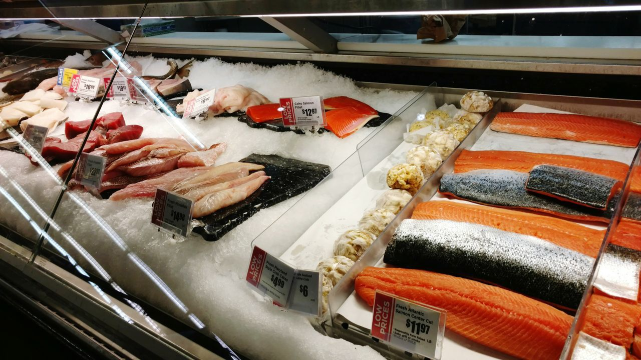 Retail  Indoors  No People Day Close-up Butcher SEAFOOD🐡 Salmon - Seafood Fresh Produce