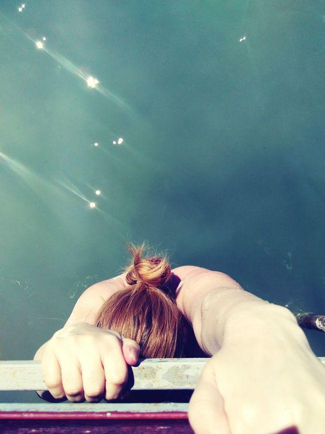 Relaxing Taking Photos That's Me Check This Out Hanging Out Enjoying Life Swim Balaton Lake Water Girl Back Bun Photo From Above Crawl Crawling Hanging Colour Of Life