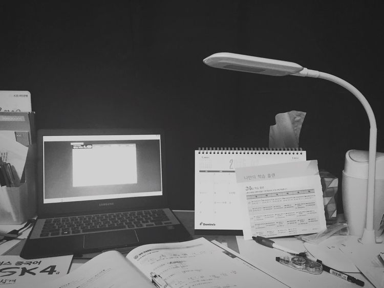 Blackandwhite Messy Room Messy Desk but OutOfNecessity haha