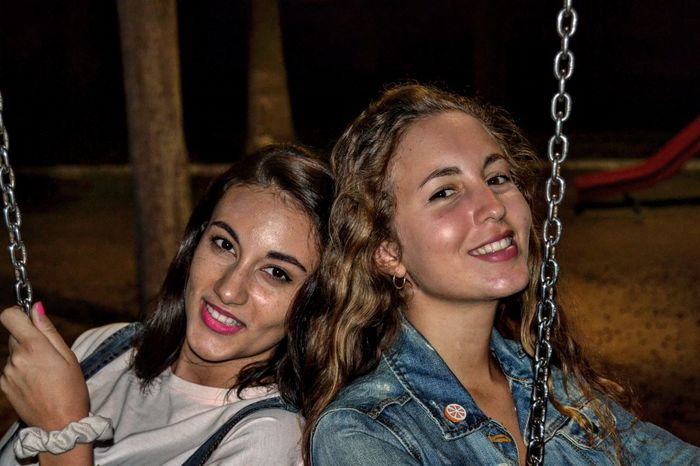 Girls in the dark Togetherness Leisure Activity Young Adult Friendship Looking At Camera Young Women Portrait Lifestyles Long Hair Headshot Bonding Love Person Casual Clothing Front View Enjoyment Adventure Fun Vacations Fine Art Photography First Eyeem Photo Adventure Club Pets Transportation One Animal