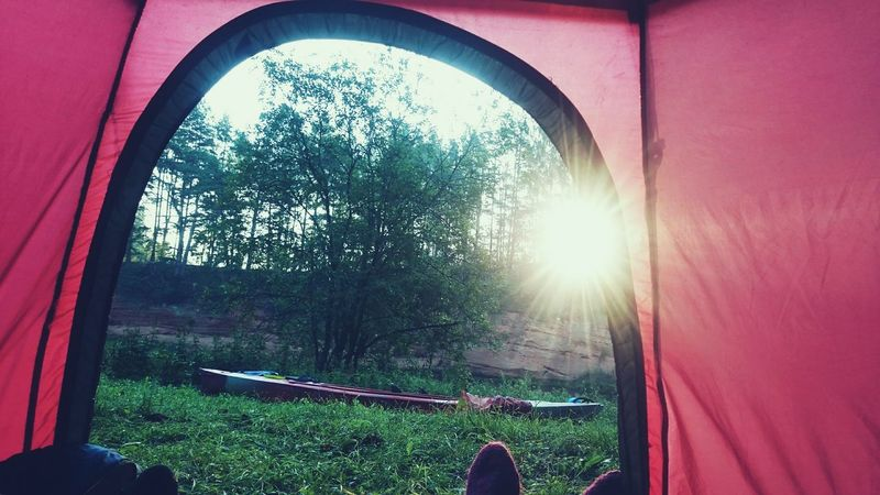 Sky Camping Tent Landscape Latvia Summer Beauty In Nature Canoe