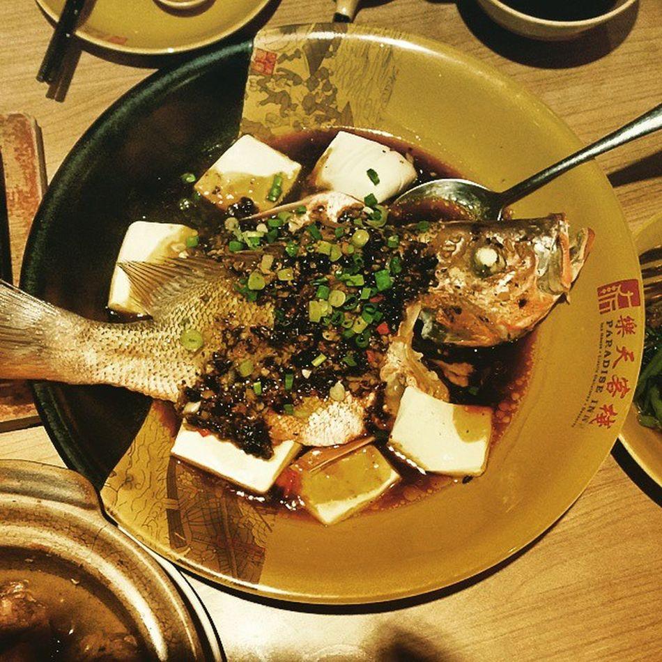 Fish w/blackbean sauce Redsnapper Blackbeansause Fish Dinner chinesefood lookatthat fishy