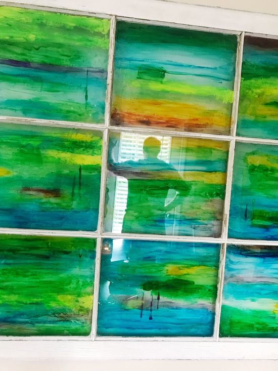 Our favorite upcycled window with heart. Green Color Day Close-up Human Representation Human Reflection  Multicolored Old Window Upcycled Window Abstract Painted Glass Painted Glass Window Reflection Mix Yourself A Good Time