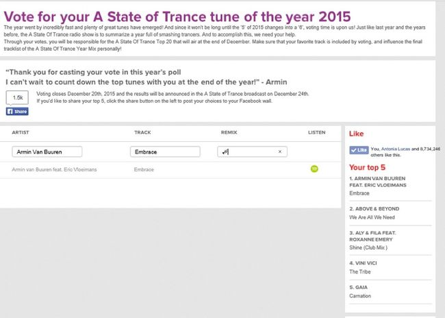 MY Vote! For A State Of Trance Tune Of The Year 2015  Top5 : 1. Armin Van Buuren feat. Eric Vloeimans – Embrace 🎺 2. Above & Beyond feat. Zoe Johnston – We're All We Need ✋ 3. Aly & Fila Feat. Roxanne Emery – Shine ☀ 4. Vini Vici – The Tribe 👹 5. Gaia – Carnation 🌺 #VoteforEmbrace #VoteforWeReAllWeNeed #VoteforShine #VoteforTheTribe #VoteforCarnation #VoteforTuneOfTheYear2015 #ASOTFamily #ArmadaFamily #AnjunaFamily #FSOEFamily #TeamASOT #PsyTrance #UpliftingTrance #TranceFamily Vote Here ➢ http://vote.astateoftrance.com/