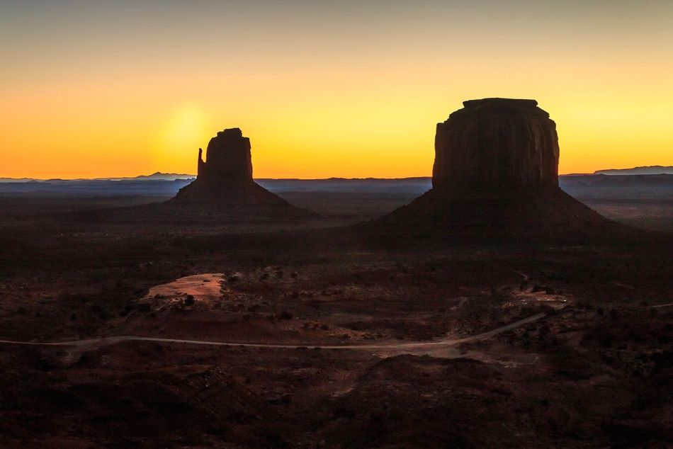 Sunrise @ Monument Valley Beauty In Nature Silhouette Monument Valley Arizona Landscape Sunrise Desert Road Trip Travel Destinations Travel Photography