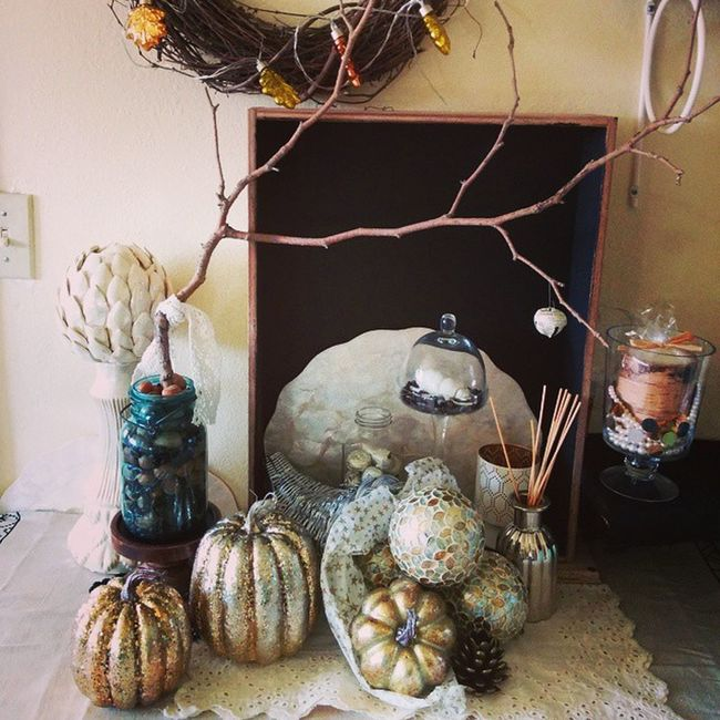 Went a little glam this year.... Thanksgiving Metallic Gold Silver  Cornucopia Coffee Tablescape Antique Found