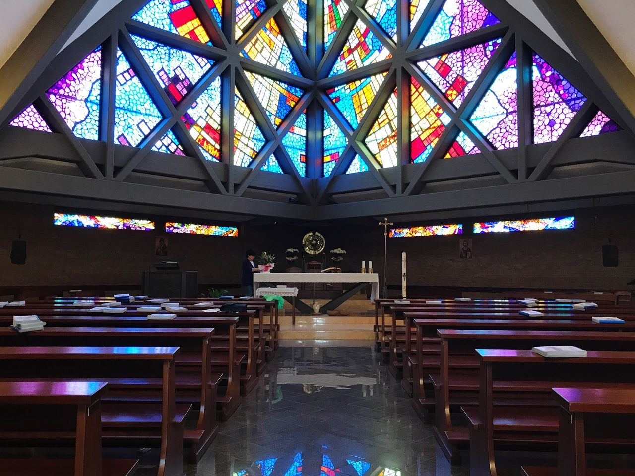 Spirituality Religion Table Indoors  Pew Place Of Worship Seat No People Day Color Religious Architecture Church Multi Colored Window Ceiling Indoors  Architecture Built Structure Vscocam VSCO Lifestyles