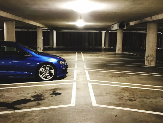 Blue Car Illuminated Transportation No People Architecture Carpark Empty Places Cold Lonely Symetrical One Car Indoors  Volkswagen Scirocco Neon Lights Marking Of Road