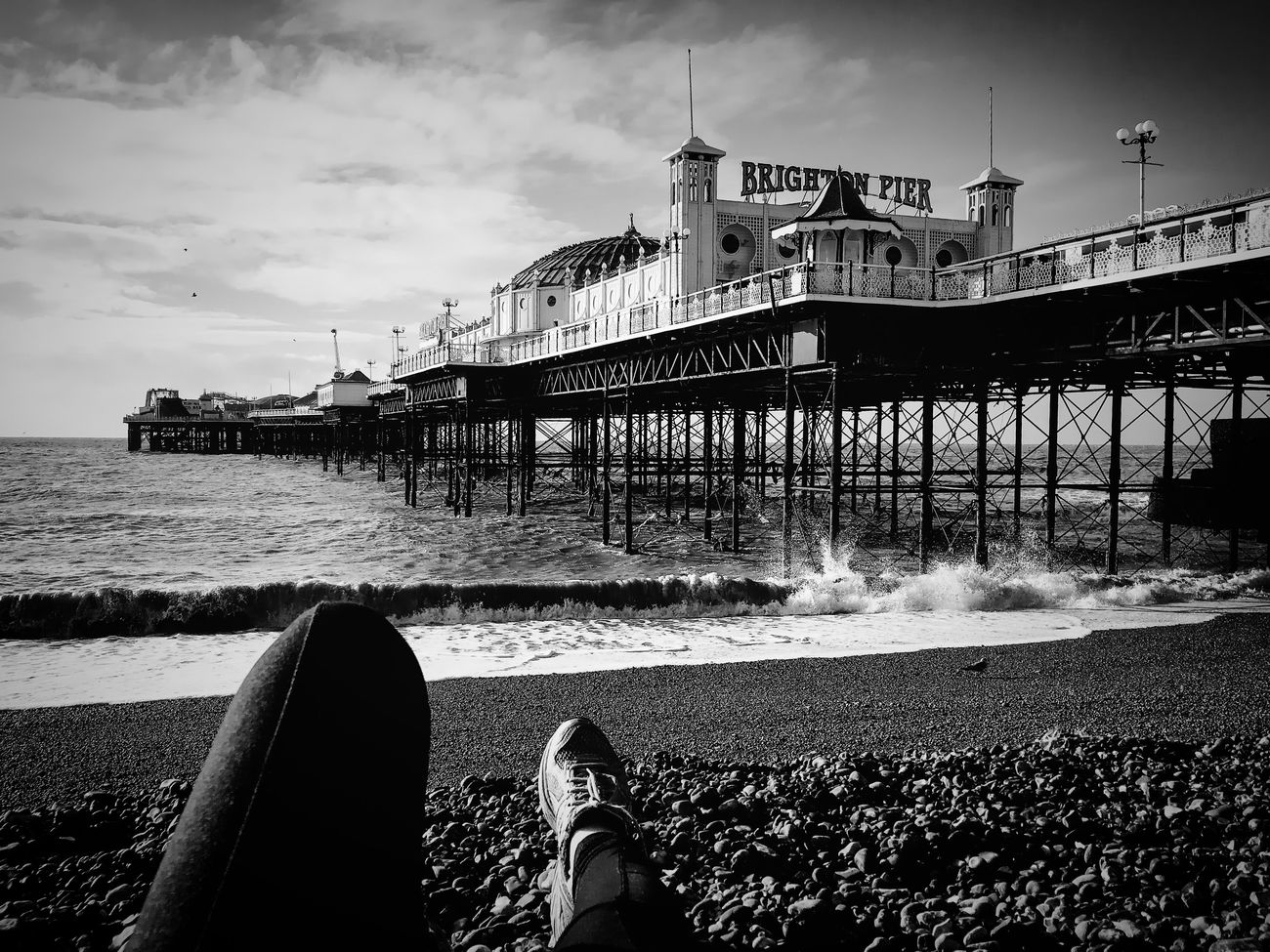 Good Morning Dear Check This Out That's Me Hanging Out Relaxing Taking Photos Enjoying Life Seafront Beachphotography Waves Sea And Sky Pebbles Blackandwhite IPhoneography