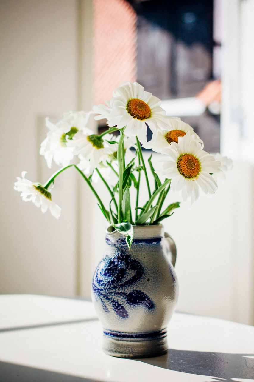 Close-Up Of White Flowers In Vase On Table At Home