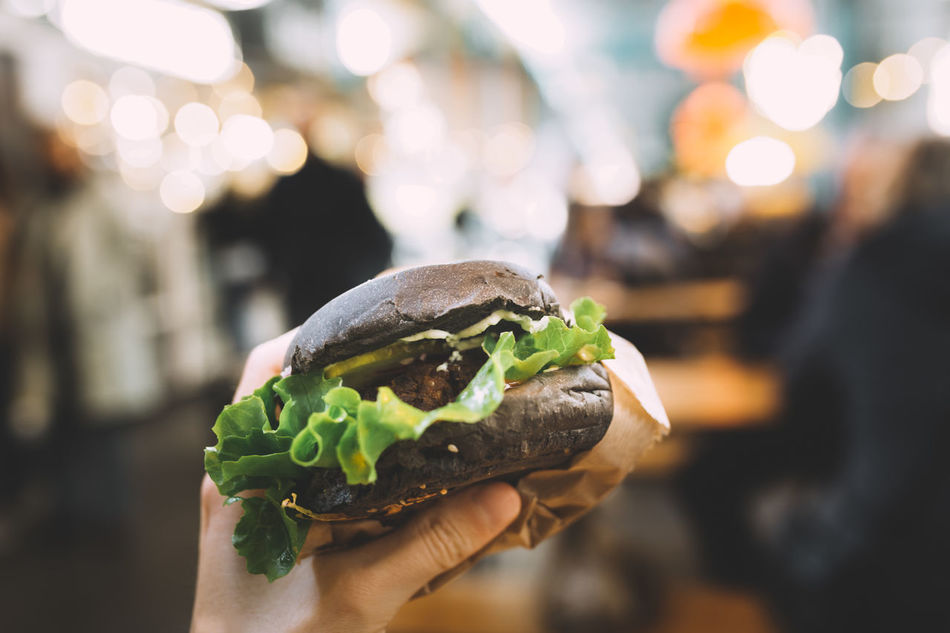 Burger Close-up Focus On Foreground Food Food And Drink Freshness Hamburger Holding Human Hand Ready-to-eat Real People Tofu Vegan Vegan Food