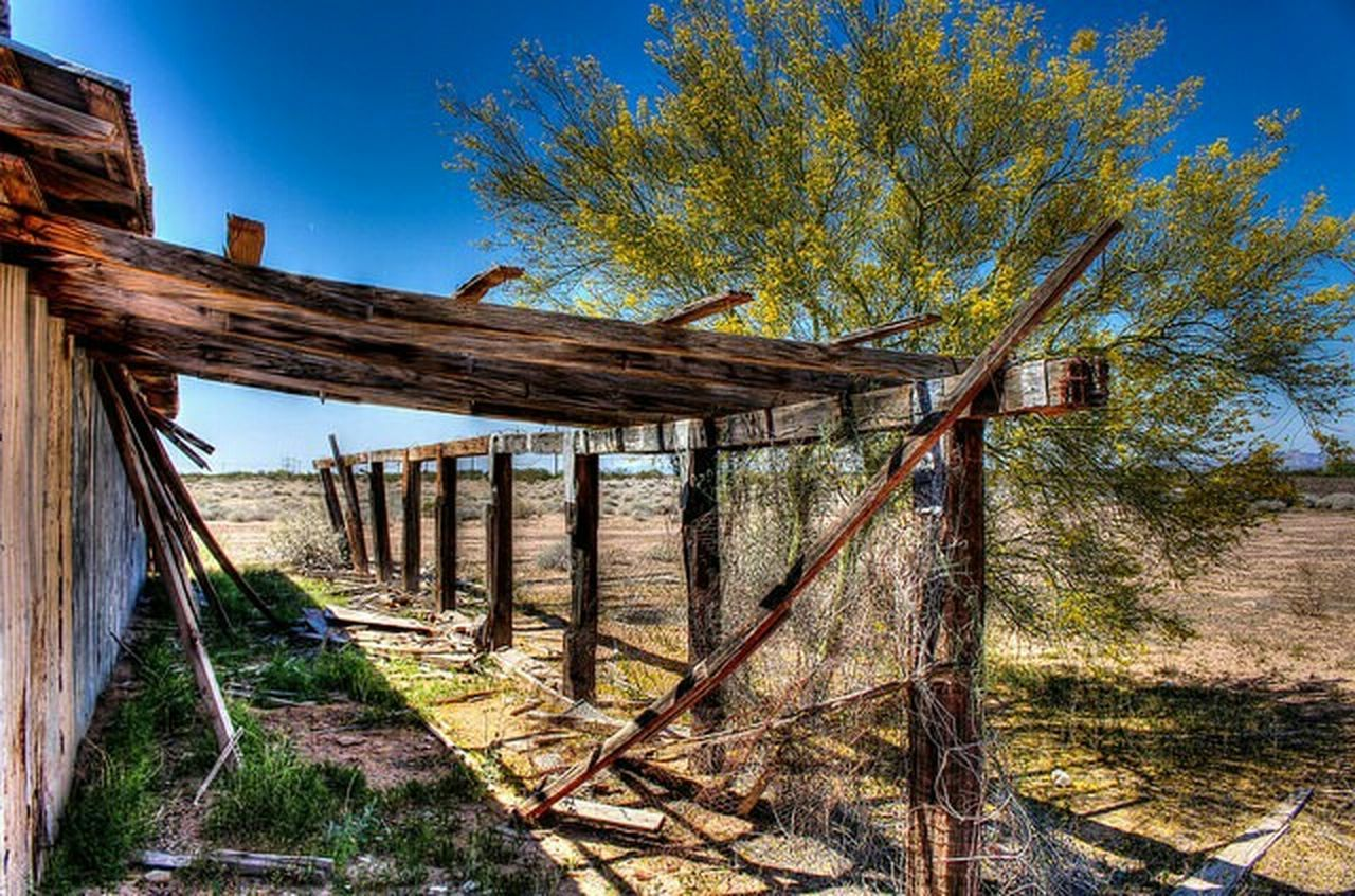 wood - material, wooden post, tree, outdoors, built structure, no people, landscape, day, rural scene, architecture, clear sky, sky, nature, oil pump