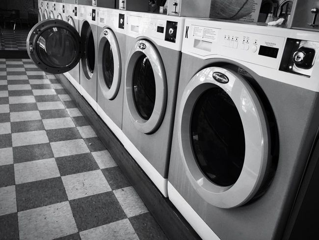 Laundry day landscape Washing Machine Laundromat Laundry Machinery Repetition In A Row Washing No People Black And White Tasks Shadows & Lights Shapes And Forms Monochrome Shape And Form Chores