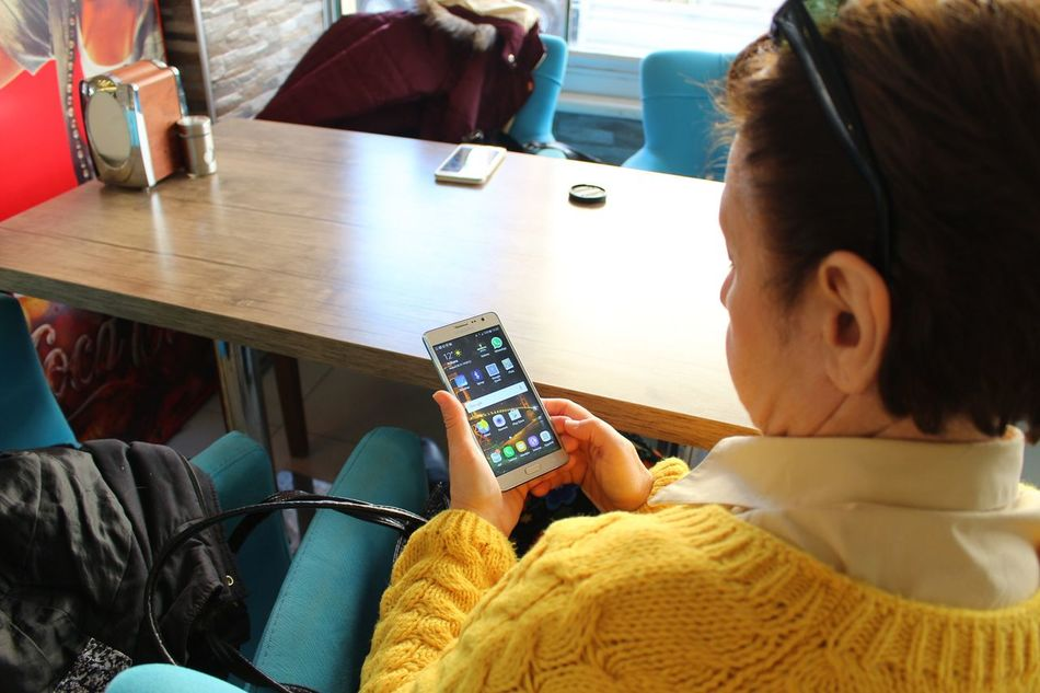 Woman Checking Cell Phone Cellphone Wireless Technology Cafe