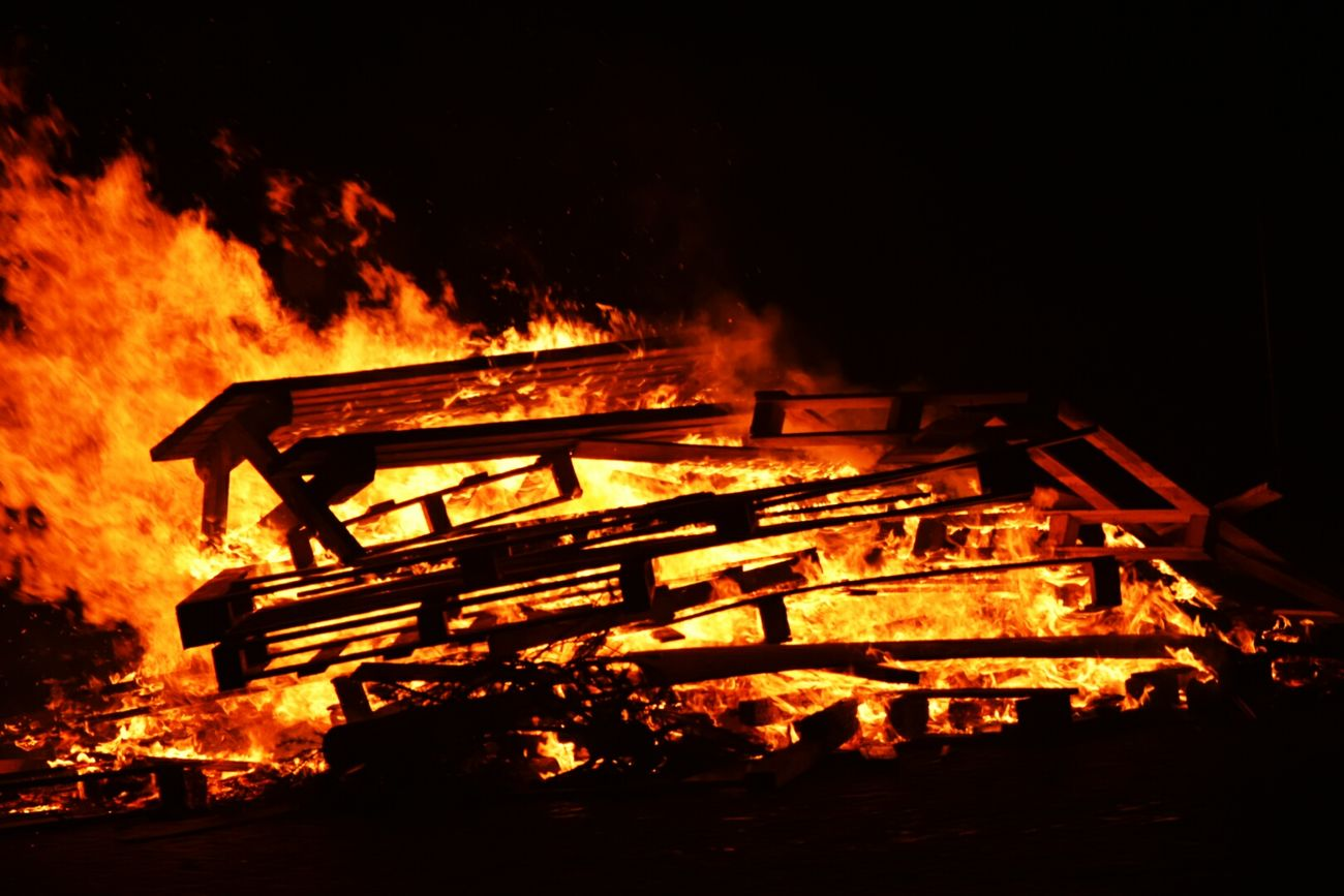 Shot in Buren, AmelandFlame Burning No People Night Outdoors Fire Fire - Natural Phenomenon Tree Bench On Fire