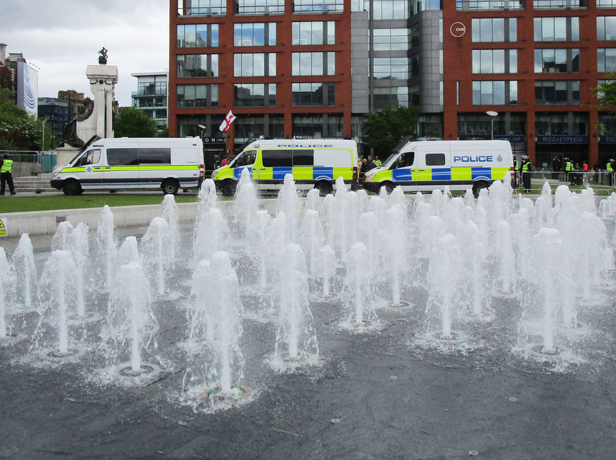 City Centre Demonstration Manchester UK Picadilly Garden Manchester Police Force Police Vans Protest UK Against Hate Water Fountains