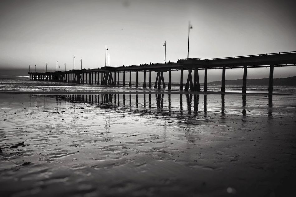 Venicelife Venice Beach Pier California Black & White EyeEm Best Shots Eyeem Beach Shots EyeEm Beach Photography ShotOniPhone6 Skyporn Shooting Built Structure Tranquil Scene Basel Vision