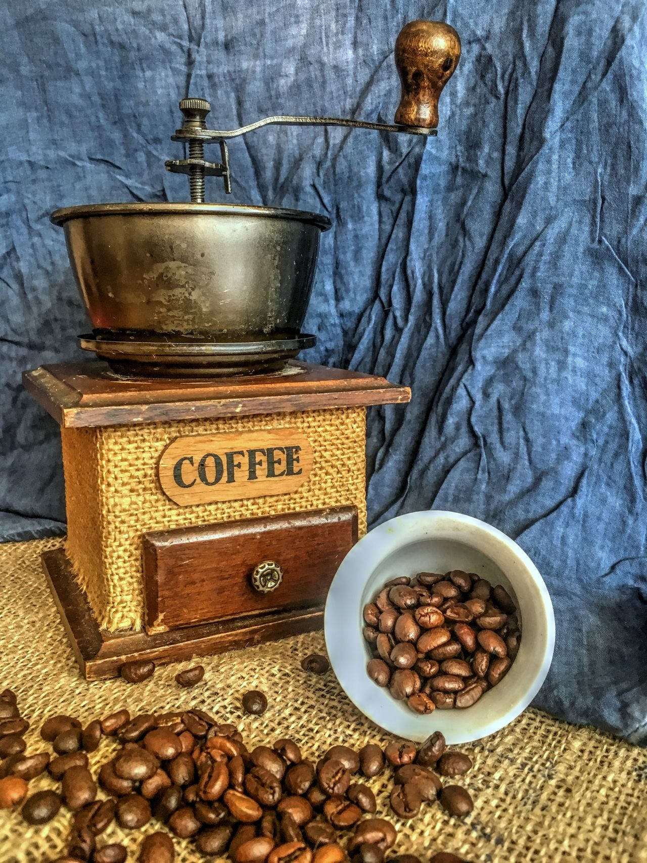 Close-up Coffee - Drink Food And Drink Grinder Indoors  Old Coffee Grinder Relaxing Moments Table Wooden Coffe Grinder