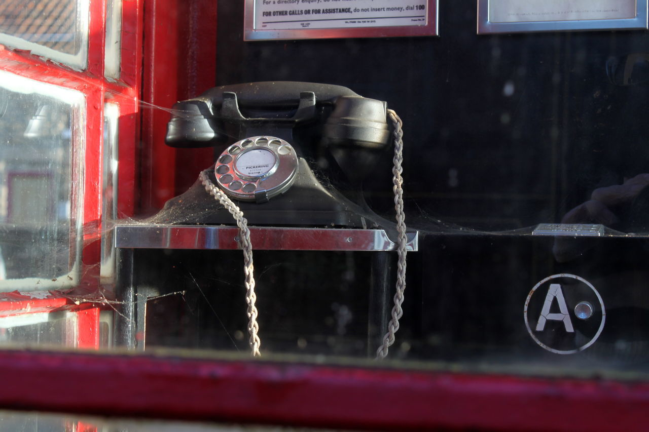 Antique Black Close-up Day No People Nostalgia Nymr Old Old-fashioned Pay Phone Pickering Station Telephone Telephone Box