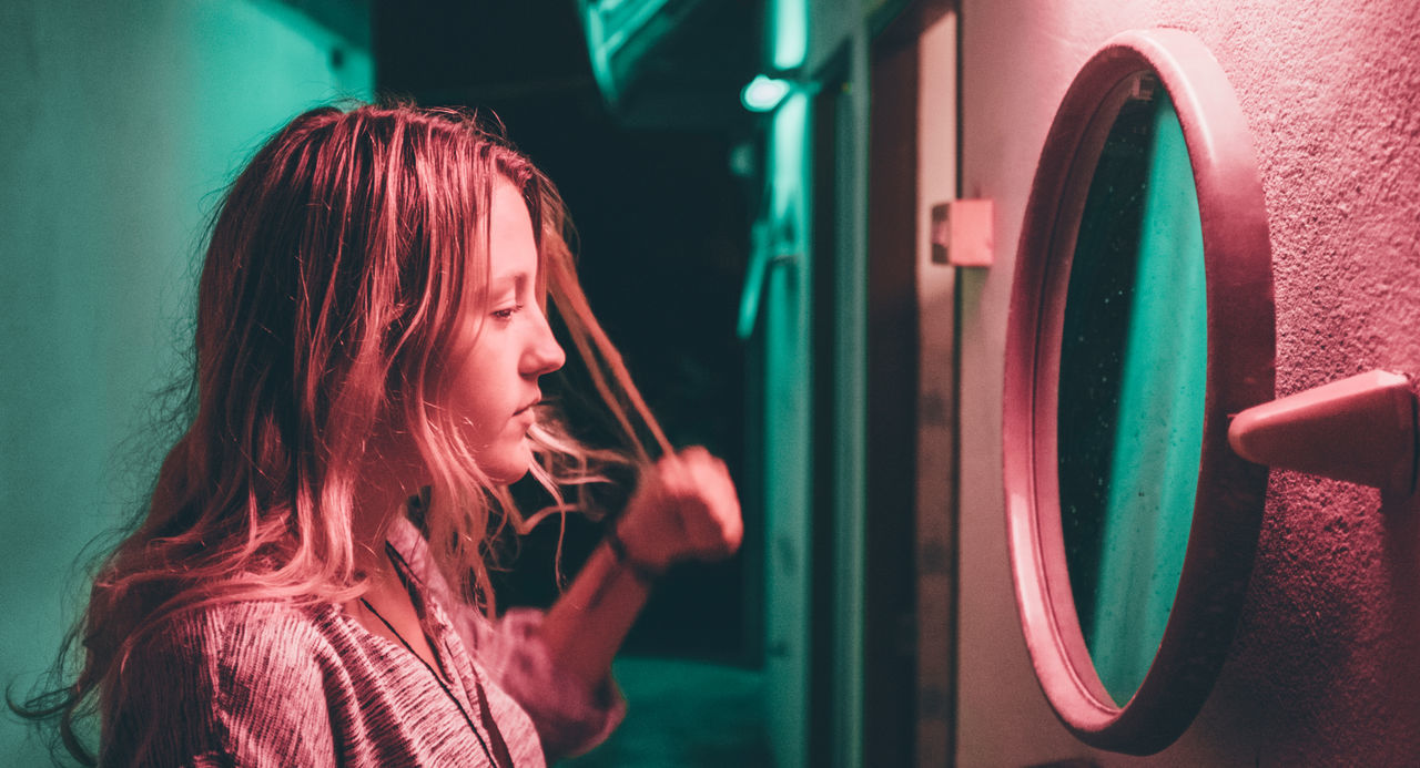 Millennial Pink Portraits Portrait Photography Portrait Mood Atmospheric Mood Atmosphere EyeEm Night Portrait Of A Woman Portraiture Woman Girl Female Mirror Dreamy Dreamy Reality Nightphotography Atmospheric One Person Moody Pink Turquoise Night Photography