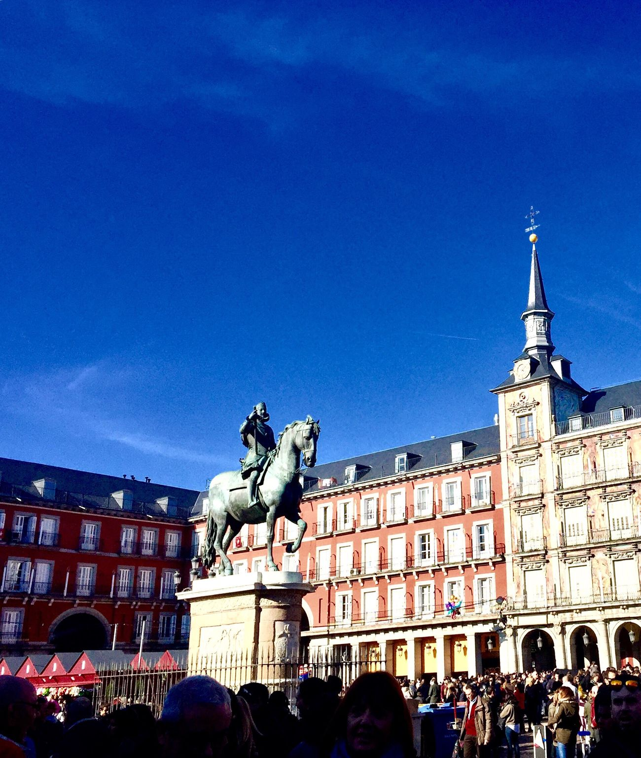 Architecture Building Exterior Built Structure Sculpture Statue Travel Destinations Travel Human Representation City Large Group Of People Tourism Low Angle View Sky Outdoors Illuminated Day Renacimiento Español Felipe III Statue Juan De Herrera Plaza Mayor (Madrid).