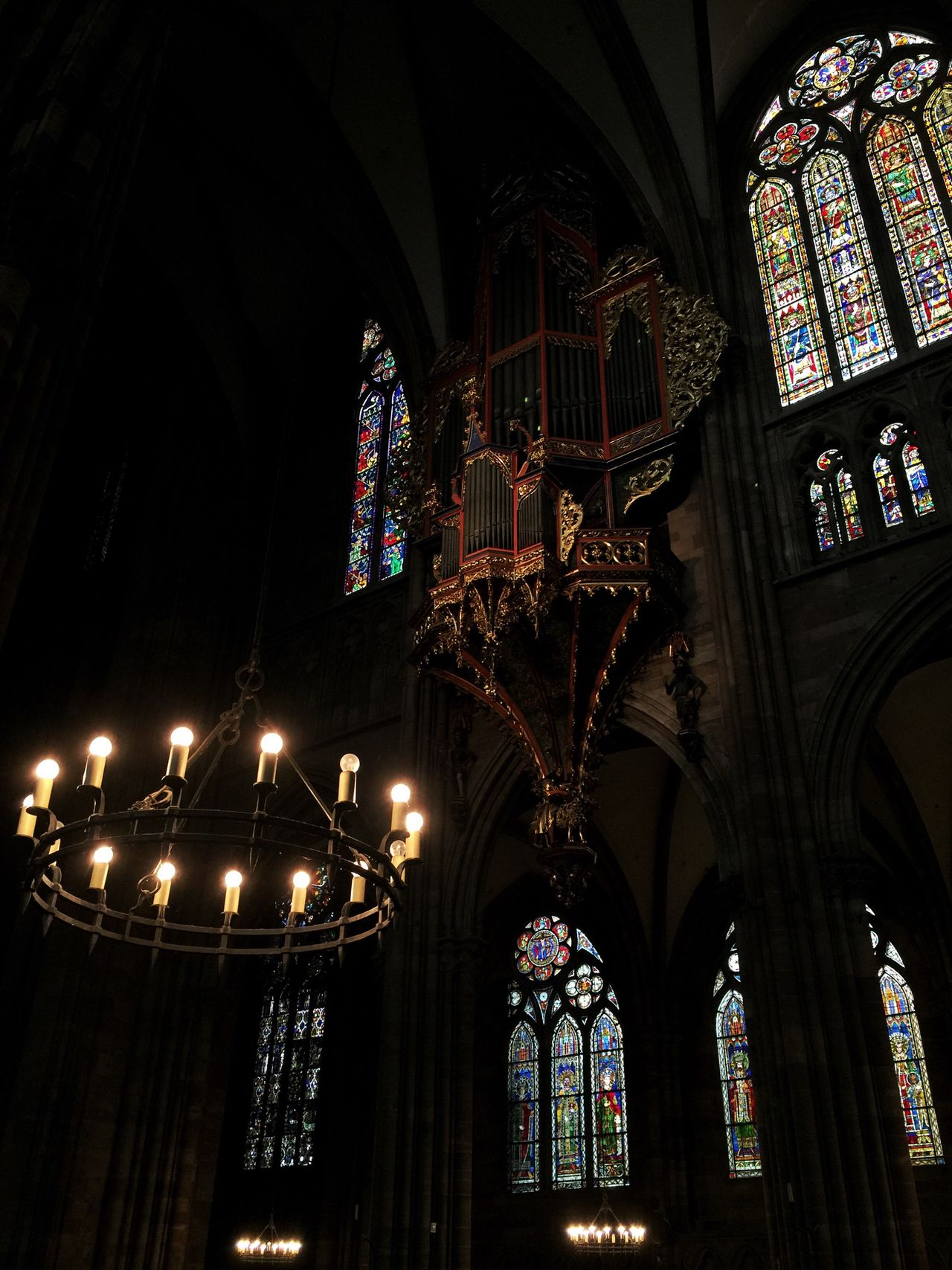 Low Angle View Architecture Illuminated Indoors  Lights Cathedral Strasbourg