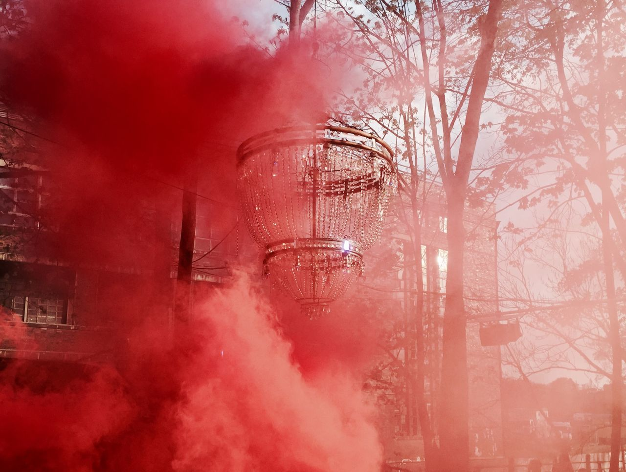 Bare Tree Chandelier Cinematography Club Clubbing Cold Temperature Dancing Day Elégance Fog Gloomy Magical Misterious Nature No People Outdoors Outdoors Photograpghy  Party Red Red Fog Snow Tree Winter