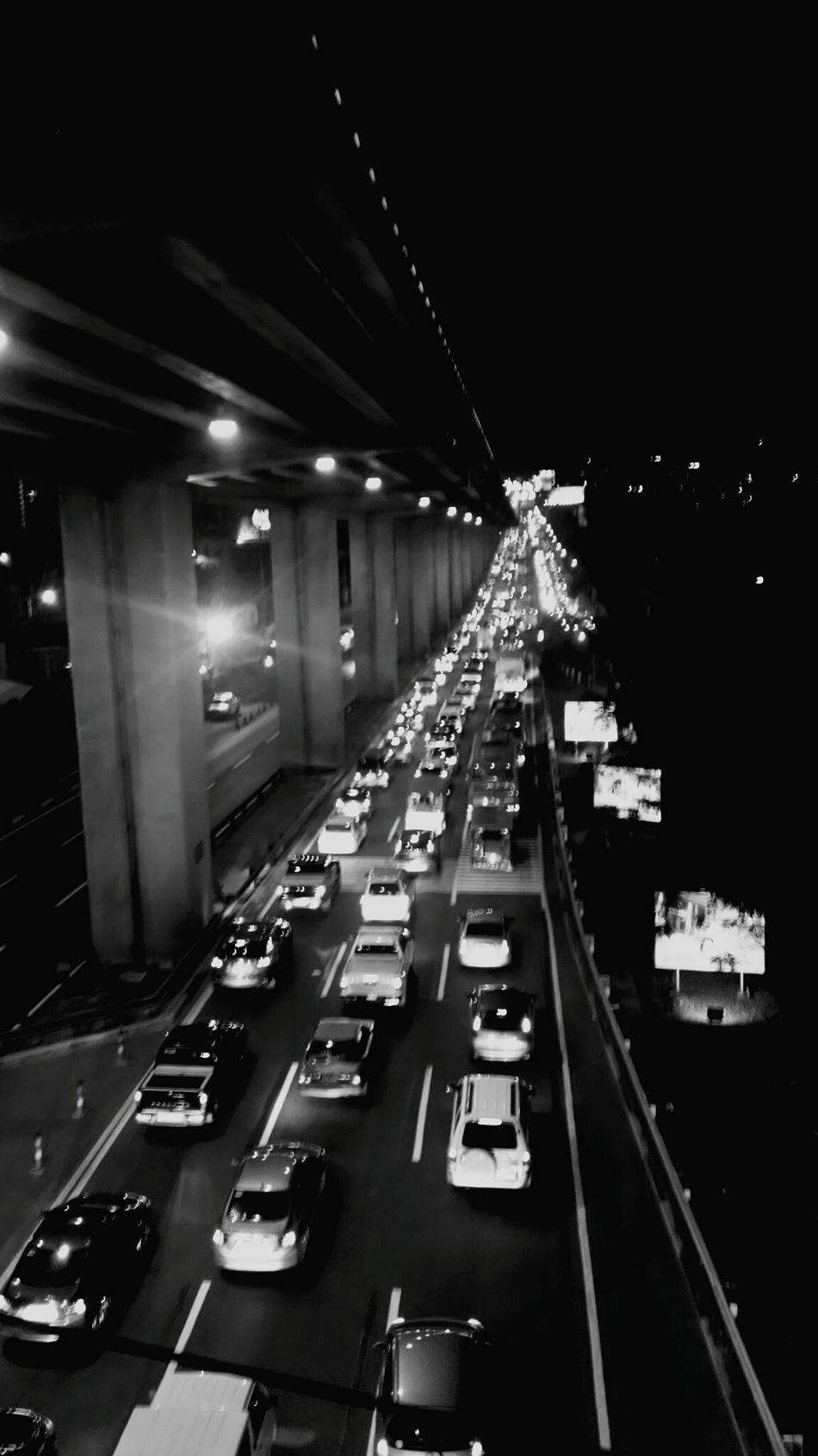 Sucat High Angle View Black And White Shitty Day Vertical Night Illuminated Transportation City No People Architecture Bridge - Man Made Structure Outdoors