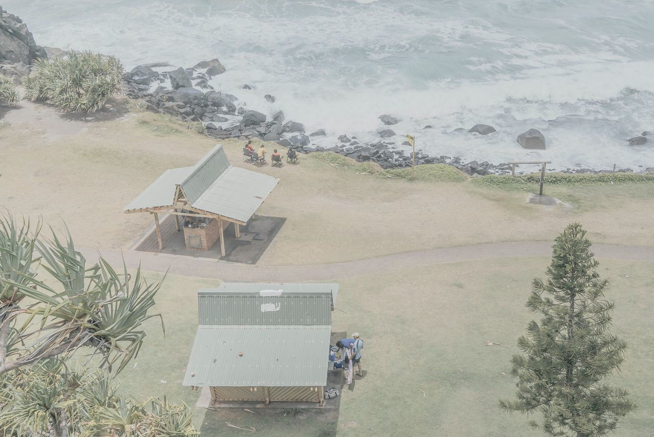 MelbournePhotographer High Angle View People Watching Sea Water Beach Tree Nature Outdoors Day