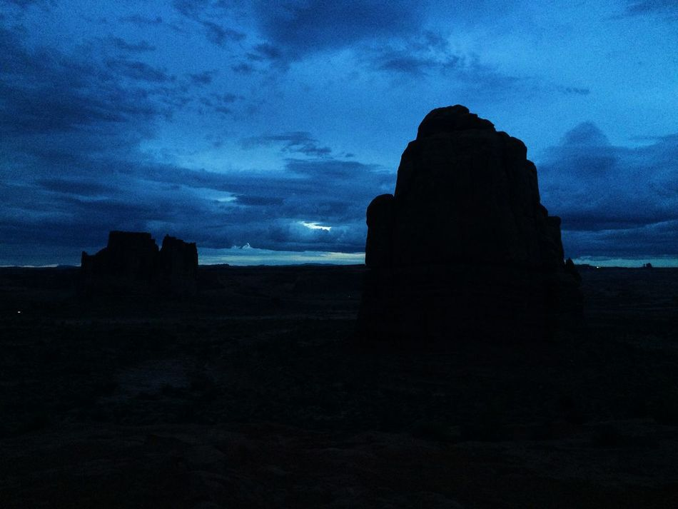 Several towers in Arches National Park at dusk Arches National Park, Utah Tower Desert Dusk